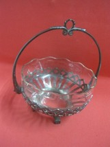 Antique Art Nouveau Germany Basket with Glass insert - $51.08