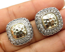 925 Sterling Silver -  Hammered Cubic Zirconia Rope Stud Earrings - E3044 - $28.89