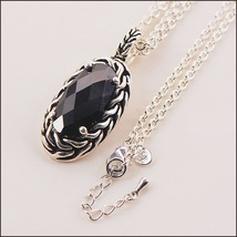 Oval Diamond Cut Black Onyx Hollow Length 925 Sterling Silver Pendant Necklace