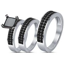 White Gold Finish 925 Silver Trio Set Black Diamond Engagement Wedding R... - $130.71