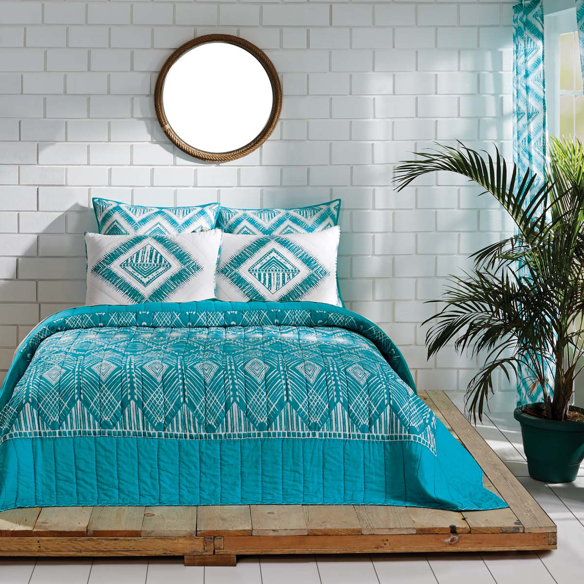 3-pc King Karina Quilt and Shams Set - Teal/Marshmallow - Tribal - VHC Brands