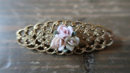 Vintage Gold Tone Rose Flower Brooch Pin 5.5cm - $19.79