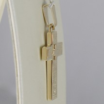 SOLID 18K YELLOW GOLD CROSS FINELY WORKED DOUBLE, SQUARED, SMOOTH, MADE IN ITALY image 2