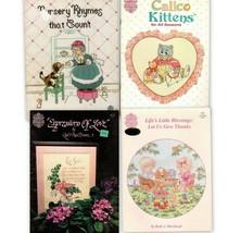4 Gloria & Pat Cross Stitch Kittens, Nursery Rhymes, Give Thanks, Love - $9.95