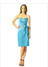 Dessy 2841....Knee-Length, Strapless, Satin Dress....Turquoise....Sz 4 - $49.49