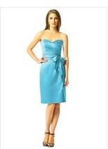 Dessy 2841....Knee-Length, Strapless, Satin Dress....Turquoise....Sz 4 - €42,70 EUR