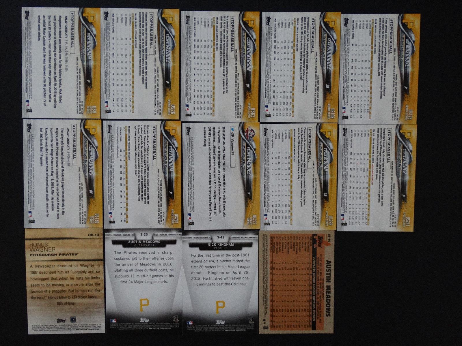 2018 Topps Update Pittsburgh Pirates Master Team Set 14 Baseball Cards Missing 1