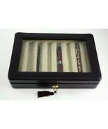 Genuine Leather 8 Pen Case with Glass Top and Locking Clasp Brown - $70.15