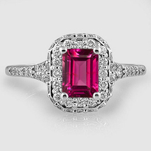 Engagement Ring Rectangular Shape Pink Sapphire 14k White Gold Plated 92... - $79.65