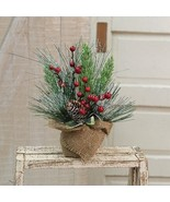 Pine Branches Berries burlap sack Table Christmas Gift  - $34.95