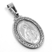 SOLID 18K WHITE GOLD ZIRCONIA MIRACULOUS BIG 24mm MEDAL VIRGIN MARY MADONNA image 2