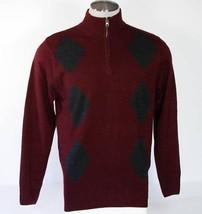 Geoffrey Beene Maroon & Gray Extra Soft 1/4 Zip Sweater Mens Medium NWT $55 - $29.69