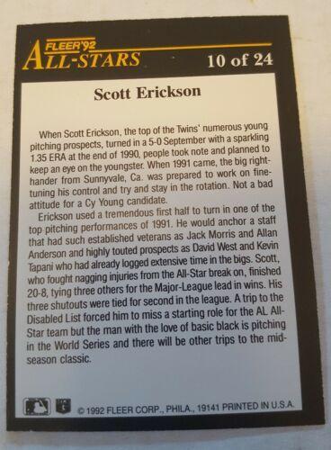 1992 Fleer All-Stars #10 Scott Erickson Minnesota Twins Baseball Card