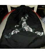 Black drastring backpack with shoe robot imprint - $13.00