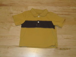 Gymboree Shirt Mustard Yellow & Brown Short Sleeve 6-12 - $5.27