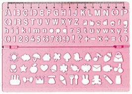 Kutsuwa stationery ruler Template (Double) KB009PK Pink Kawaii - $8.22