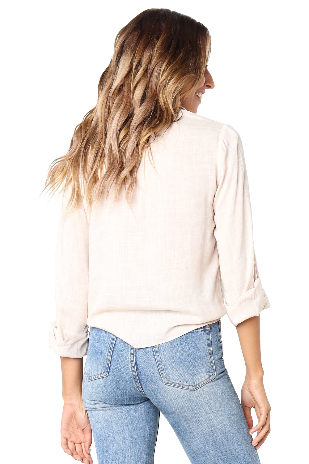 Apricot Crushed Linen Button-Down Casual Shirt  image 2