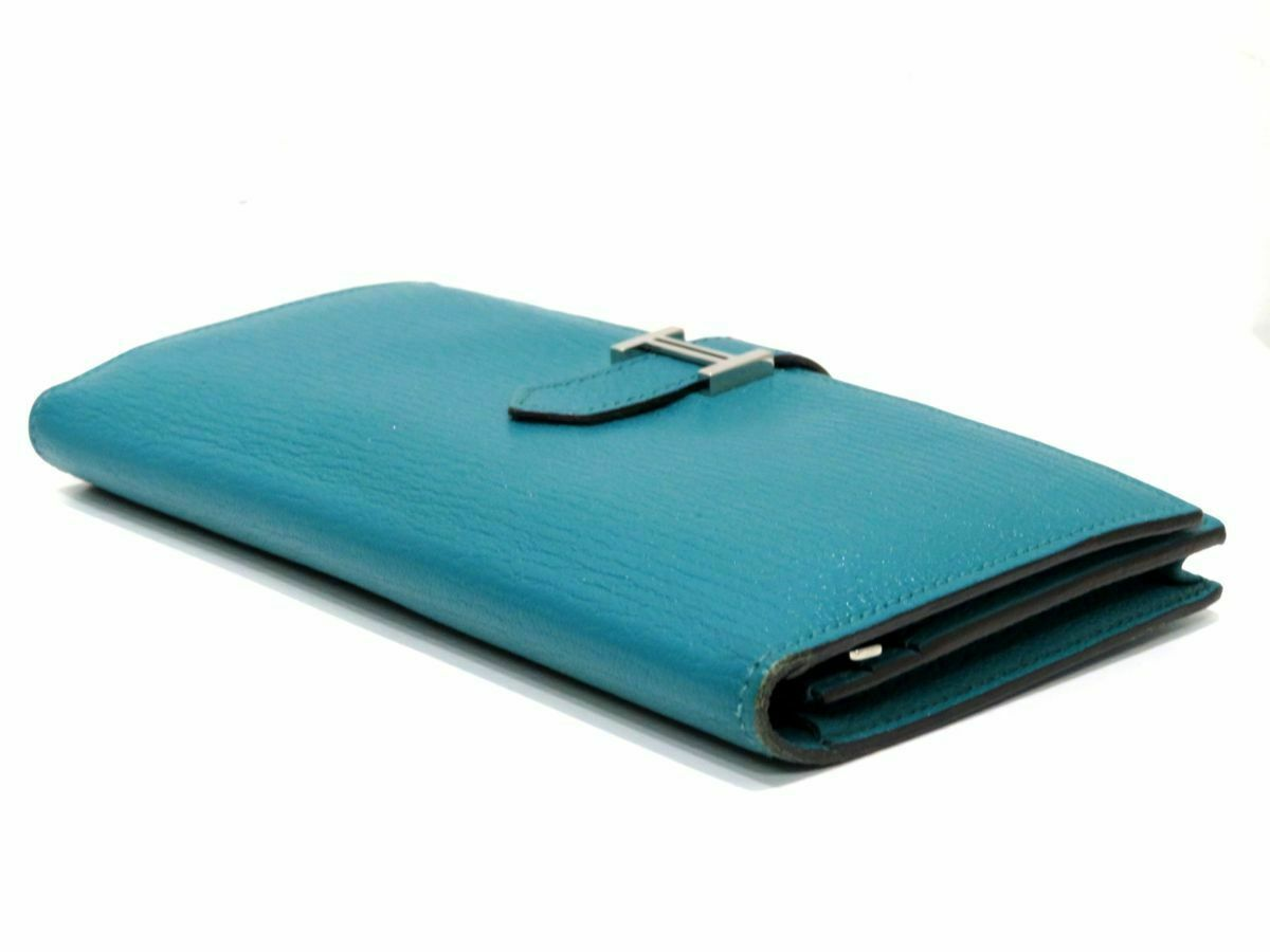 Hermes Beansufure Machi two-fold wallet Chevre Blue Paon X time Silver Bearn