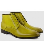 Leman Yellow Color Good Looks Leather Men Chukka Ankle Boots - $149.99+