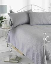 Hotel Quality Luxury Etched Mosaic Bedspread & Shams Silver Grey 240 X 260CM - $27.25