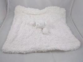 Blankets & Beyond White Fluffy Teddy Bear Lovey Security Blanket Plush Toy - $9.95