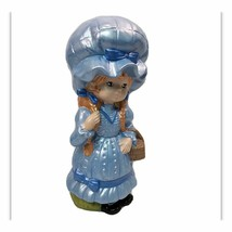 "Cottagecore Ceramic Blue Bonnet Girl 10"" Braids Basket Evergreen 1977 Fi... - $15.84"