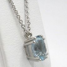 Necklace White Gold 750 18K, Aquamarine Oval, Carat 1.13, Chain Rolo ' image 3
