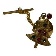 vintage Mylu mens Christmas tree  tie tack pin chain Bar rhinestones Gol... - $20.57