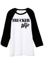 Thread Tank Trucker Wife Unisex 3/4 Sleeves Baseball Raglan T-Shirt Tee White Bl - $24.99+
