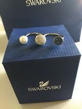 NIB New Swarovski 5230552 Forward Ring Size 55 Palladium Teal Crystal Pe... - $58.41