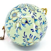 Asha Handicrafts Painted Papier-Mâché Blue & Gold Floral Christmas Ornament image 2