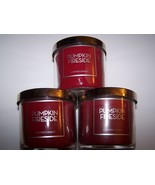 Lot of 3 Bath & Body Works Pumpkin Fireside Scented Candle with Lid 4 oz  - $21.50