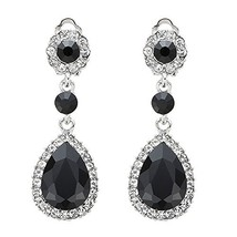 Wiwiw Classical Austrian Crystal Rhinestone Teardrop Dangle Earrings Cli... - $8.76