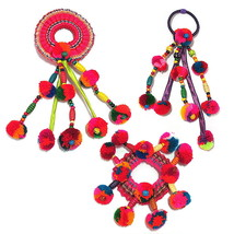 SET OF 3 STYLES OF PONYTAIL HOLDER COLOURFUL POM POMS SCRUNCHIE HAIR TIE... - $18.80