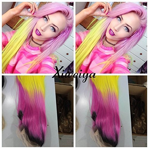 Xiweiya Dark root silky straight Heat Resistant Fiber Middle part mermaid ombre