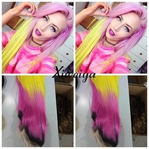 Xiweiya Dark root silky straight Heat Resistant Fiber Middle part mermaid ombre  image 1