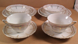 10 PC Set BAVARIA China Porcelain Cup Saucer Bowl Bread Lunch Plates Ros... - $12.38