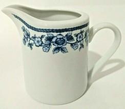 Vintage Farberware Blue Chintz Creamer White Blue 211 Mini Pitcher - $9.49