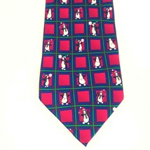 Hallmark Holiday Traditions Penguin Christmas Tie Red & Green 100% Silk ... - $16.93