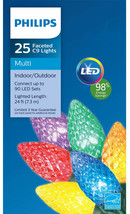 New ! 25ct Philips LED Faceted C9 Lights Multi-color with White Wire 98% Save