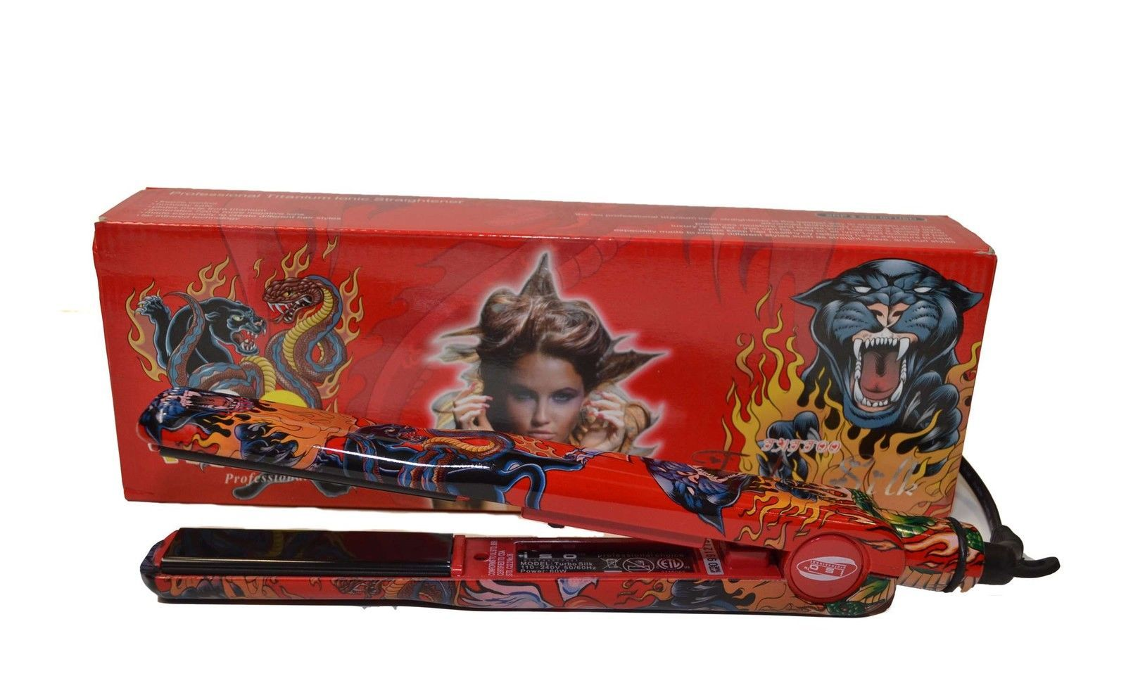 Iso Professional Red Tattoo Special Edition Turbo Silk Ionic Straightener