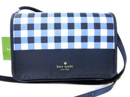 Kate Spade Hyde Lane Gingham Renee Crossbody Handbag Navy White NEW - $76.44