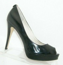 Michael Kors Erika black patent leather peep toe slip on platform heels 7.5M - $37.04