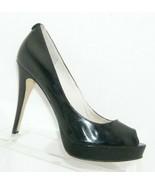 Michael Kors Erika black patent leather peep toe slip on platform heels ... - $37.04