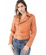 Salt Tree Women's Fax Leather Zipper Front Belted Waist Biker Jacket US ... - $44.99