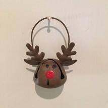 Metal Hand Painted Figural Rudolph Reindeer Bell Christmas Ornament - $4.75