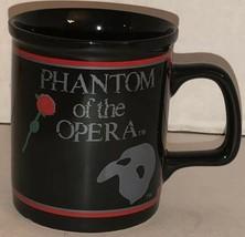 Vintage 80s Phantom Of The Opera 1988 Coffee Mug Cup Black Red Rose Mask Enesco - $32.85