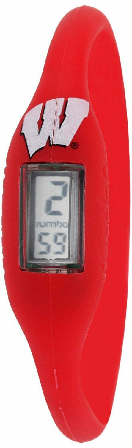 Rumba Time Unisex Men's University of Wisconsin Red Digital Silicone Watch Med