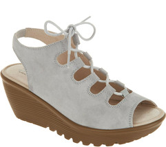 Skechers Suede Lace-Up Peep-Toe Wedges Light Grey, Size 9 M - $45.53
