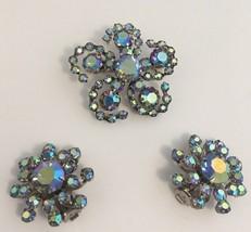 Vintage Star Austria Rhinestone Pin Brooch Clip Earrings Aurora Borealis... - $37.65